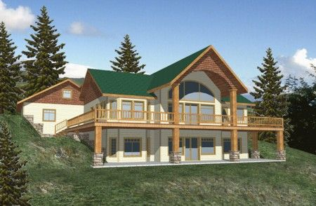 Front walkout basement with arched front porch basement for Mountain house plans with basement