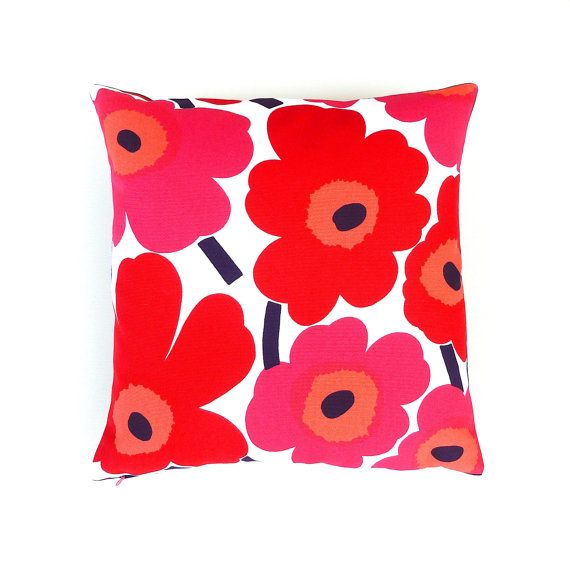 marimekko red poppy cushion cover. pink,red, orange, navy on white