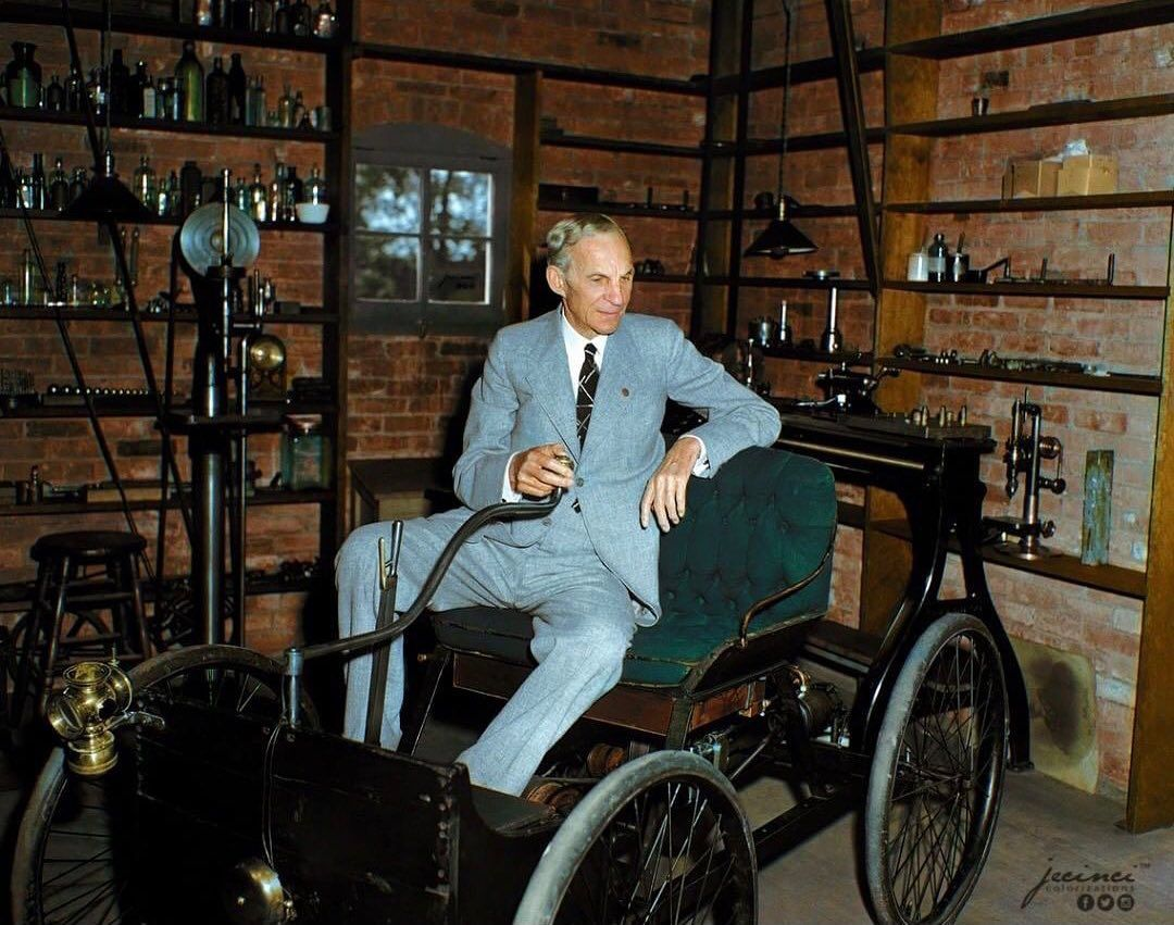 History In Color On Instagram Henry Ford In His 1896 Quadricycle