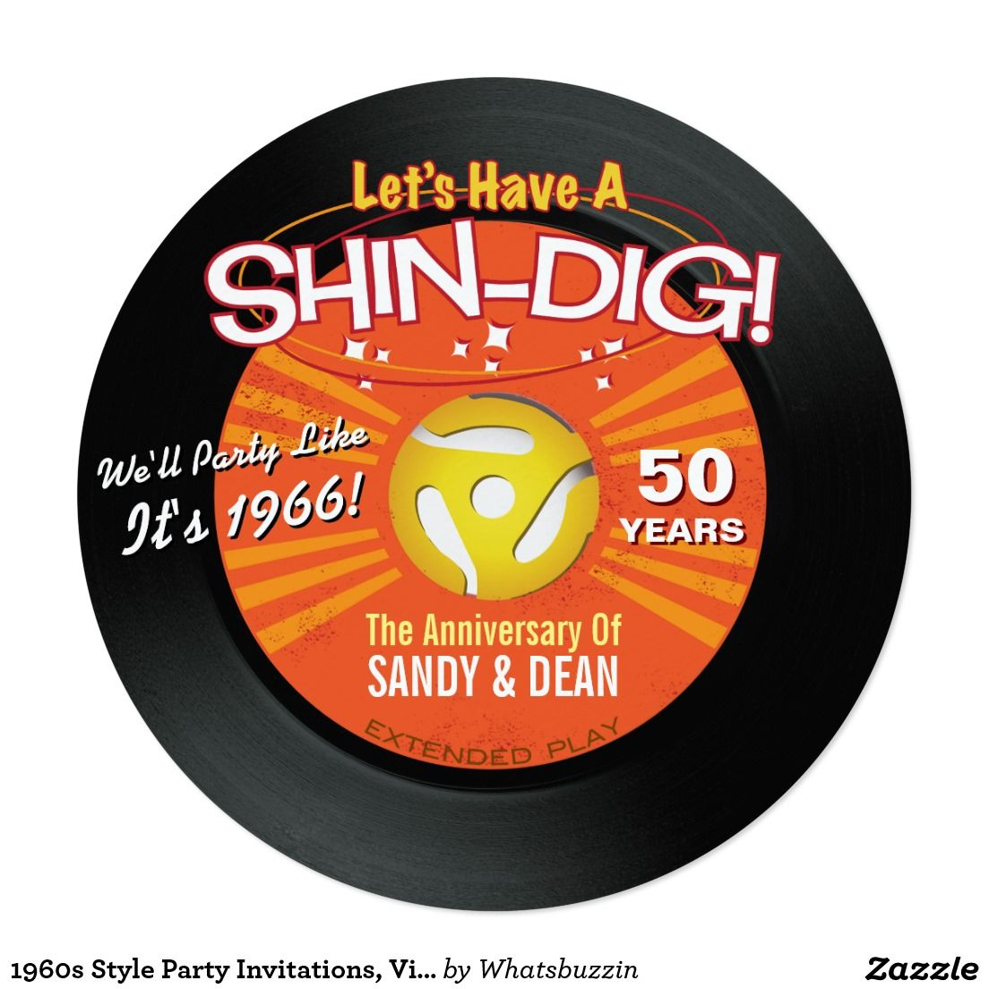 1960s Style Party Invitations, Vinyl 45 RPM Records -Customize ...
