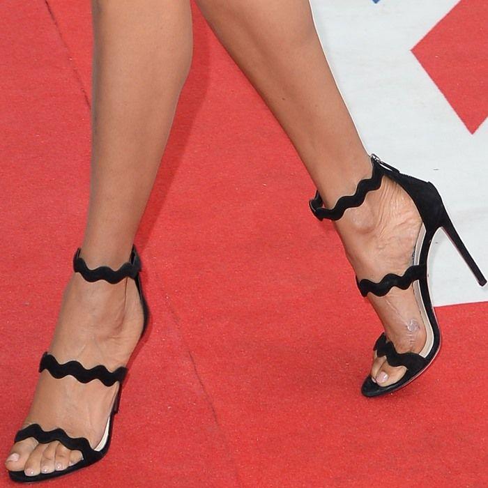 d9fdef29025 Alesha wearing scalloped Prada sandals