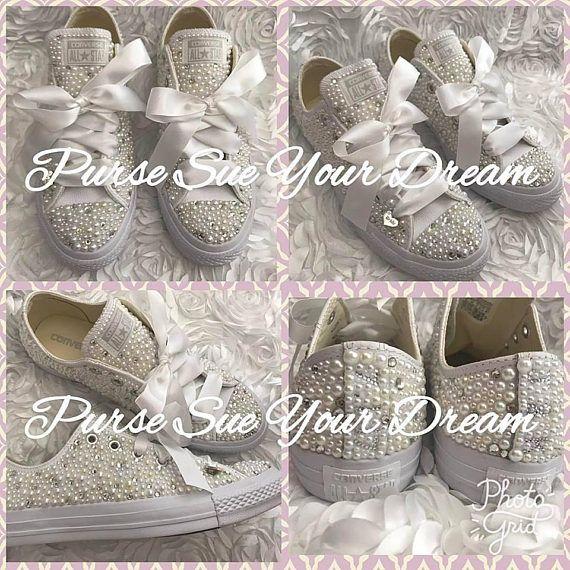 Pearl and Swarovski Bridal Converse - Swarovski Crystal Wedding Shoes -  Personalized Converse - Pea 94b8a2c34