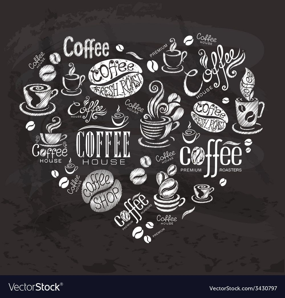 Download Coffee labels Design elements on the chalkboard vector ...