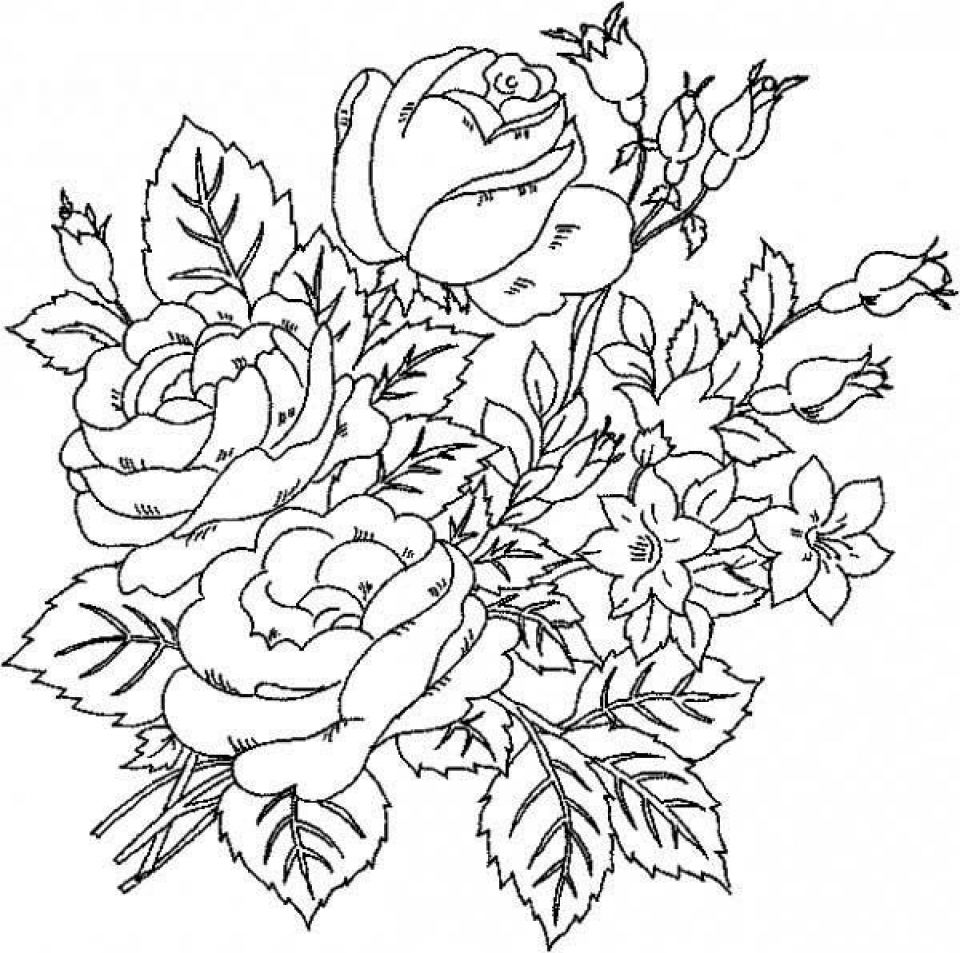 Roses Coloring Pages For Adults Flower Coloring Pages Detailed Coloring Pages Flower Coloring Sheets