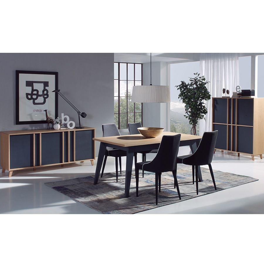 salle manger compl te scandinave gris et couleur bois ruben salle manger moderne design. Black Bedroom Furniture Sets. Home Design Ideas