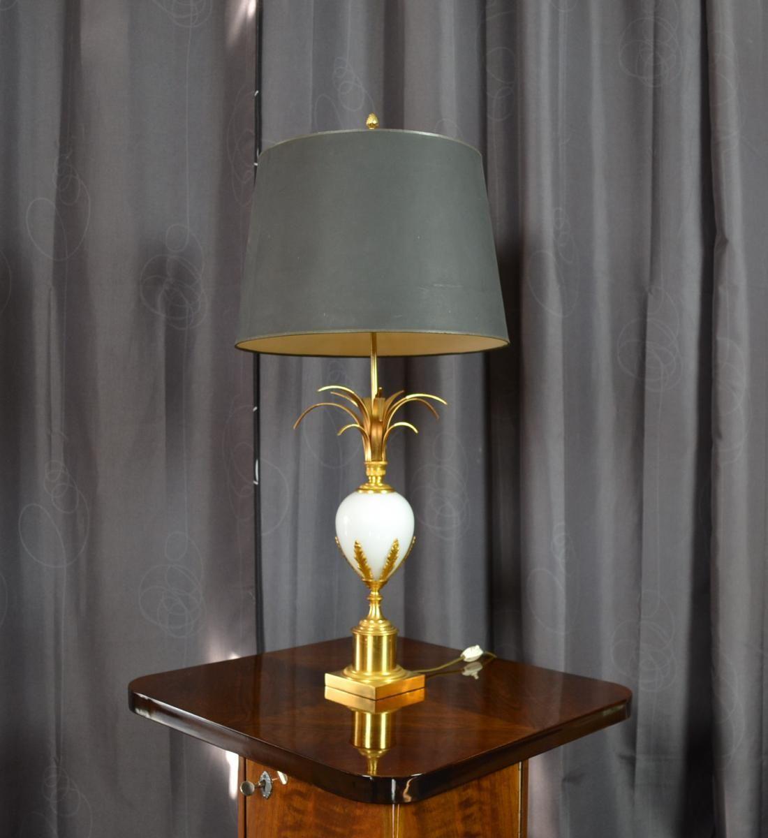 Tres Jolie Lampe De La Maison Charles En Bronze Avec Un Feuillage