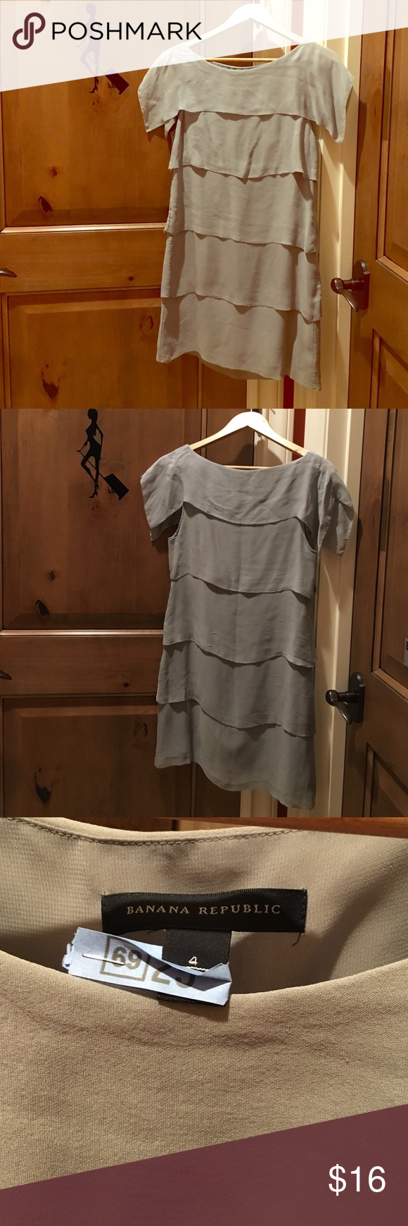 Banana Republic gray layer dress Banana Republic light gray layer dress.  Size 4.  Material is 100% silk with full lining made of 100% polyester.  No stain.  It has tiny thread run (see pic 4).  Non-smoking and pet free home. Banana Republic Dresses