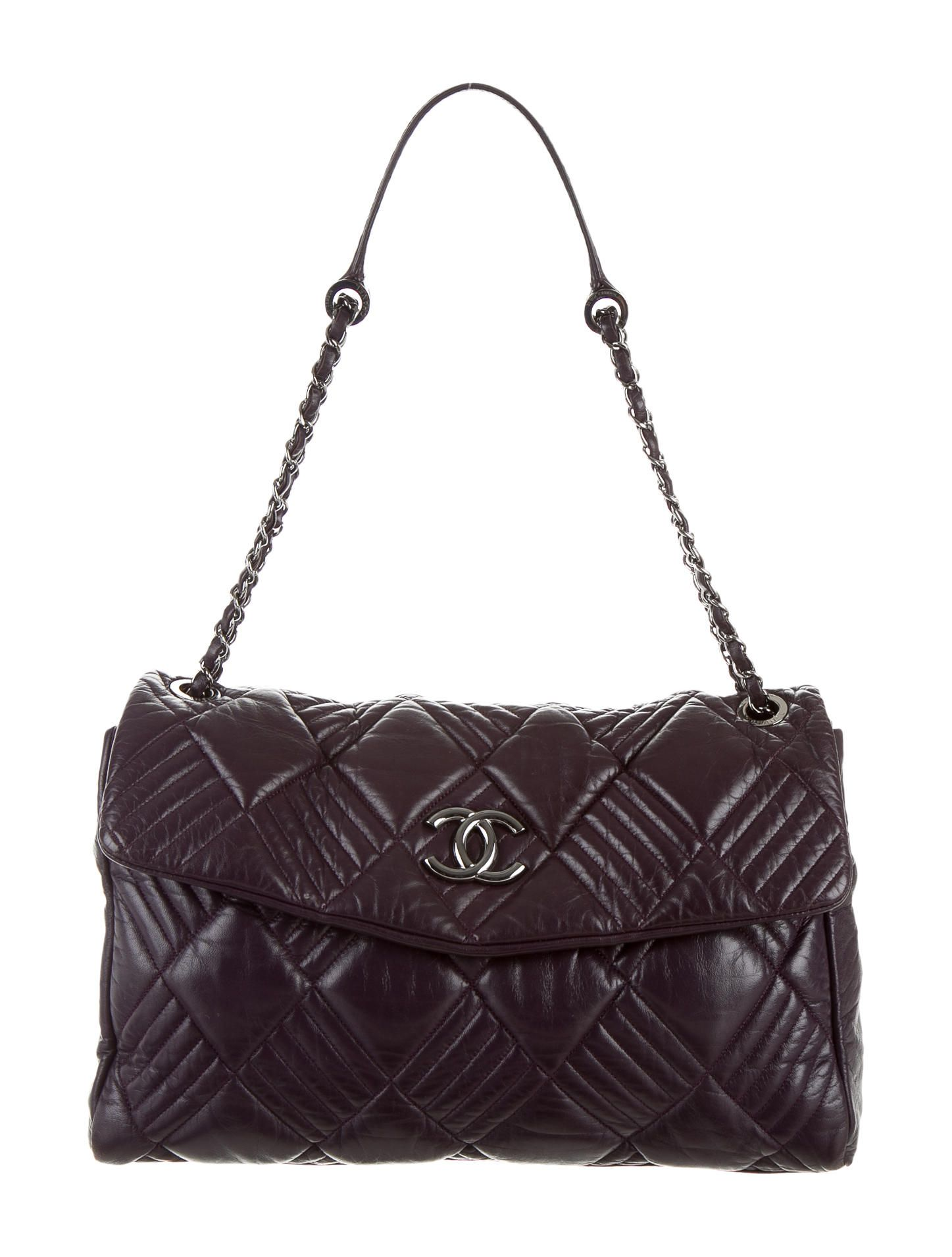 ed0c448729aa6d Purple quilted leather Chanel In And Out Maxi Flap Bag with silver-tone  hardware, chain-link and leather shoulder straps, grey printed woven  interior lining ...