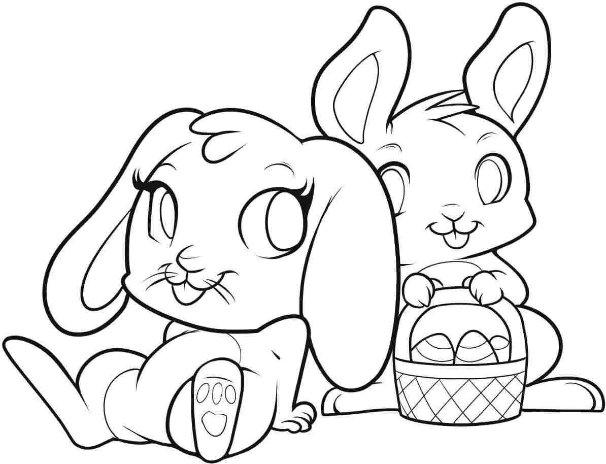 Beautiful easter bunny coloring page on print with inside pages