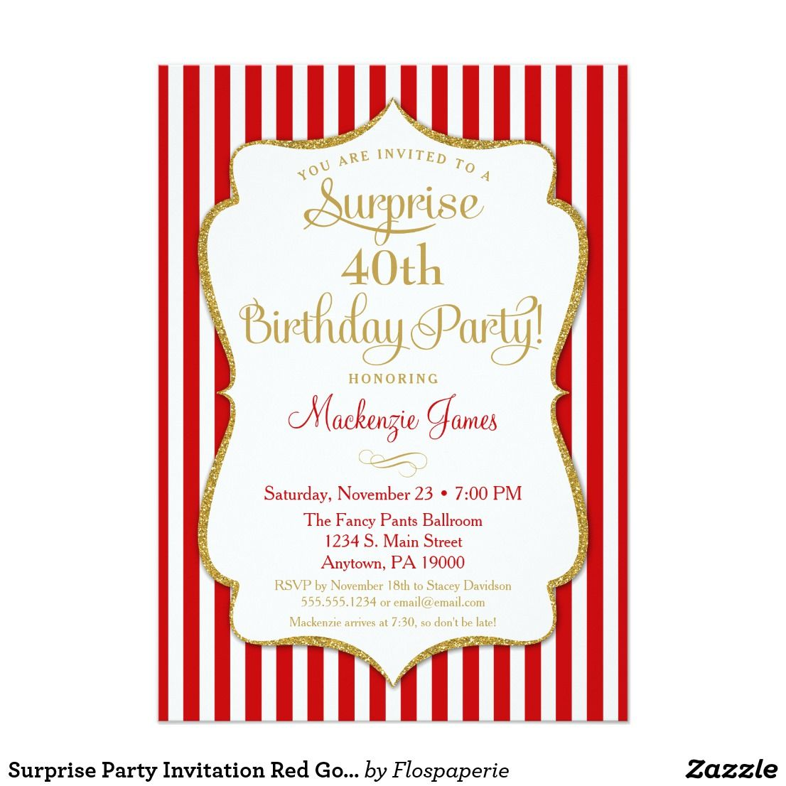 Surprise Party Invitation Red Gold Elegant Adult | { Happy Birthday ...