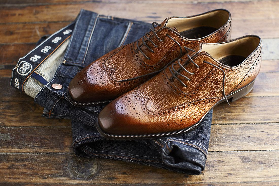 How to wear dress shoes with denim.