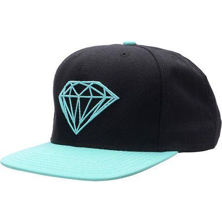 Diamond Supply Co Brilliant Black Blue Snapback Hat Zumiez Black Snapback Hats Diamond Supply Diamond Supply Co