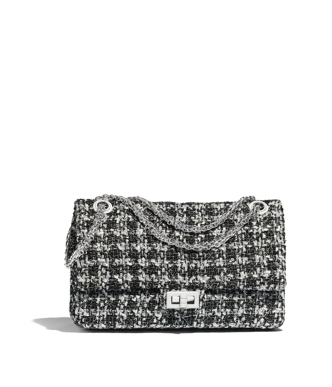 60e7f2d4b287 Tweed, Resin & Silver-Tone Metal Black & White Large 2.55 Handbag | CHANEL