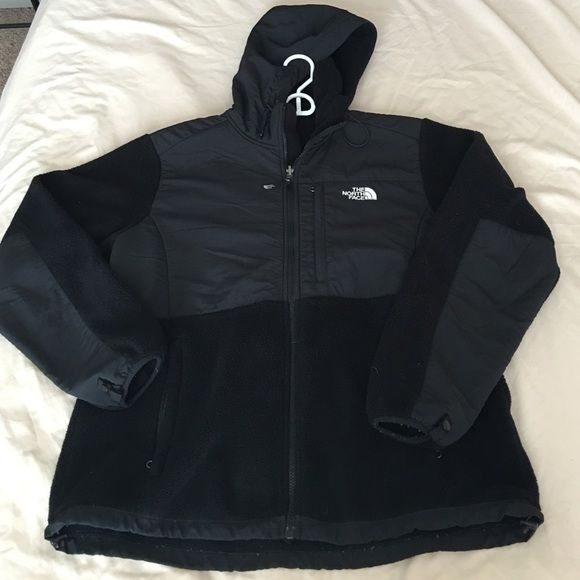 North Face Black Fleece Jacket Attached hood. Slight piling on the sleeves as shown. This is a used jacket but still in great condition! I no longer live on the east coast and don't need it! North Face Jackets & Coats Puffers
