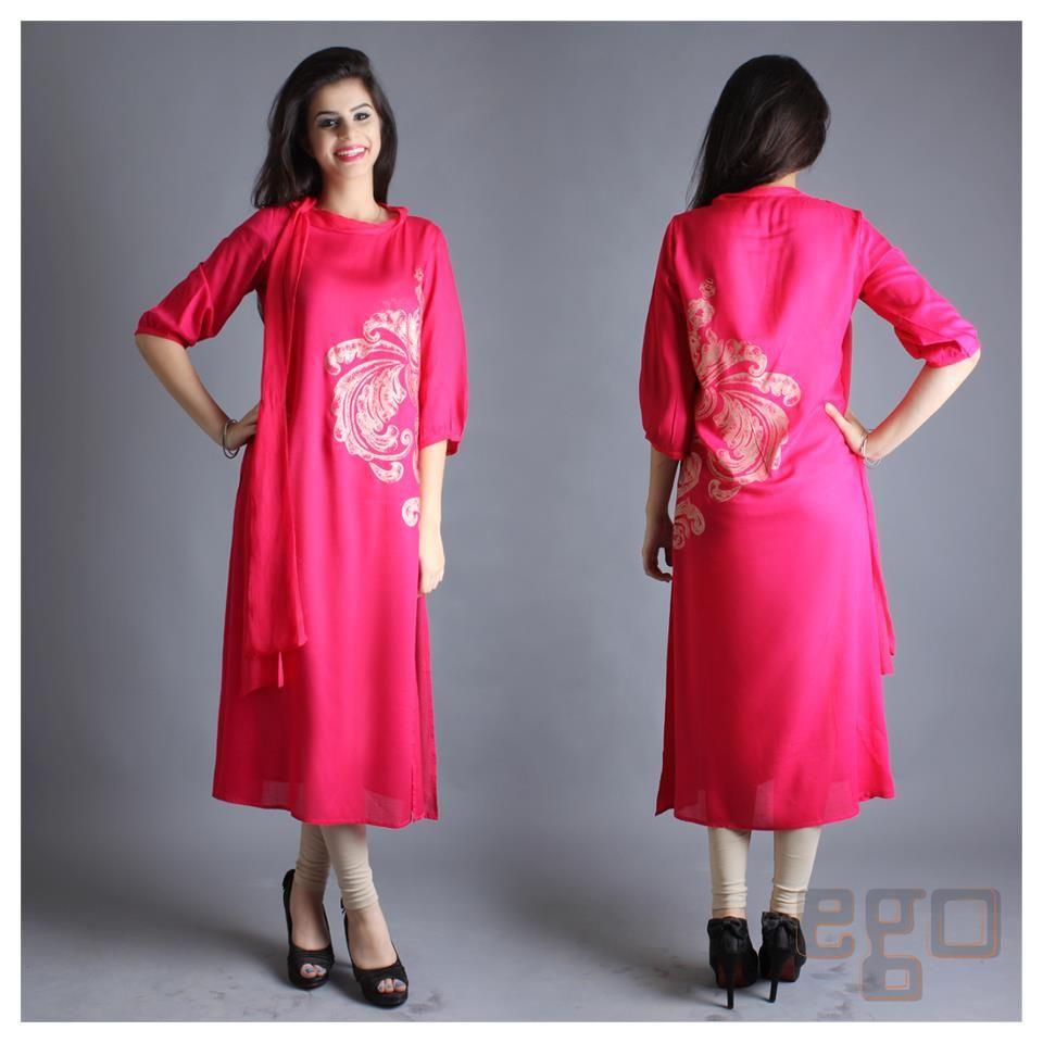 Shirt design kurti - Latest Winter Kurta Design For Woman 2014