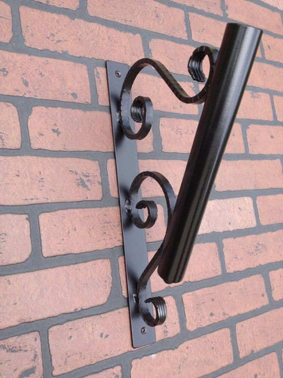 Flag Pole Holder Wall Mount Wrought Iron With By Ironandstonedecor