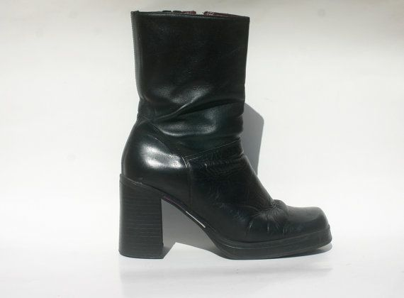 8bb66ccf11e37 90s leather Tommy Hilfiger platform boots / goth by toasterhenry ...