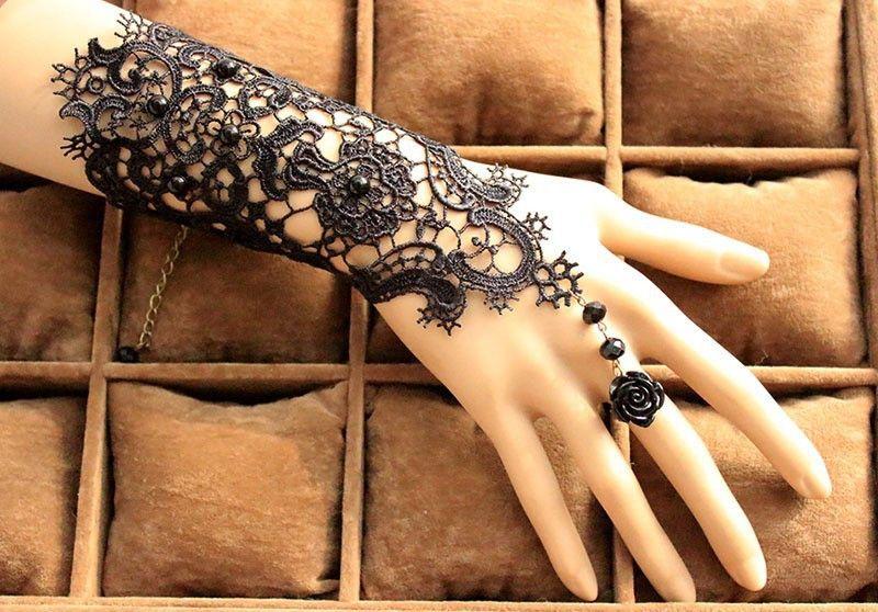 Mehndi Lace Tattoo : Fashion gothic tattoo tassel lace rose bracelet classical