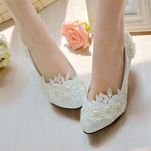 Heart Pearl White Lace Floral Bridal Wedding Shoes High Heel Flat Platform  009 L f49b0a5ffc62