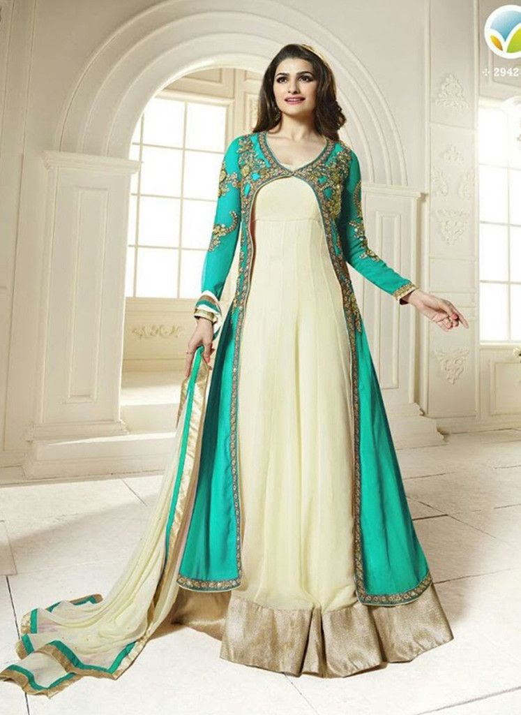 28fdb3a23e Vinay Fashion 2942A Sea Green & Beige Color Georgette Designer Suit ...