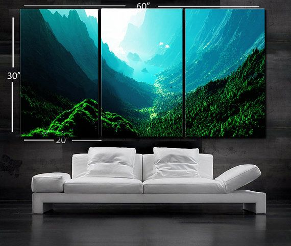 30x60 3 Panels Art Canvas Print By Boxcolors Mountain Wall Painting Canvas Art Prints Nature Wall Art