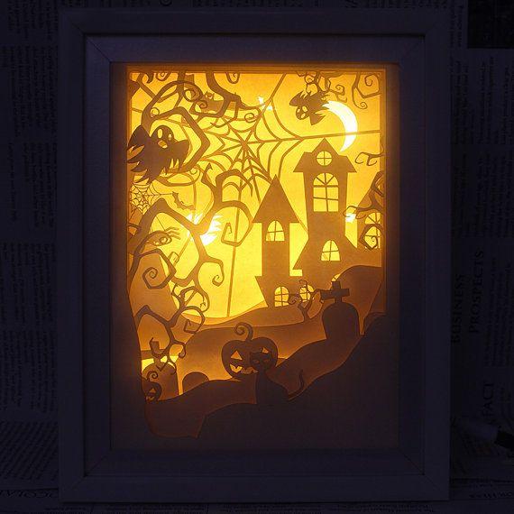 Silhouette paper cut Light box Night light Accent by trysogodar
