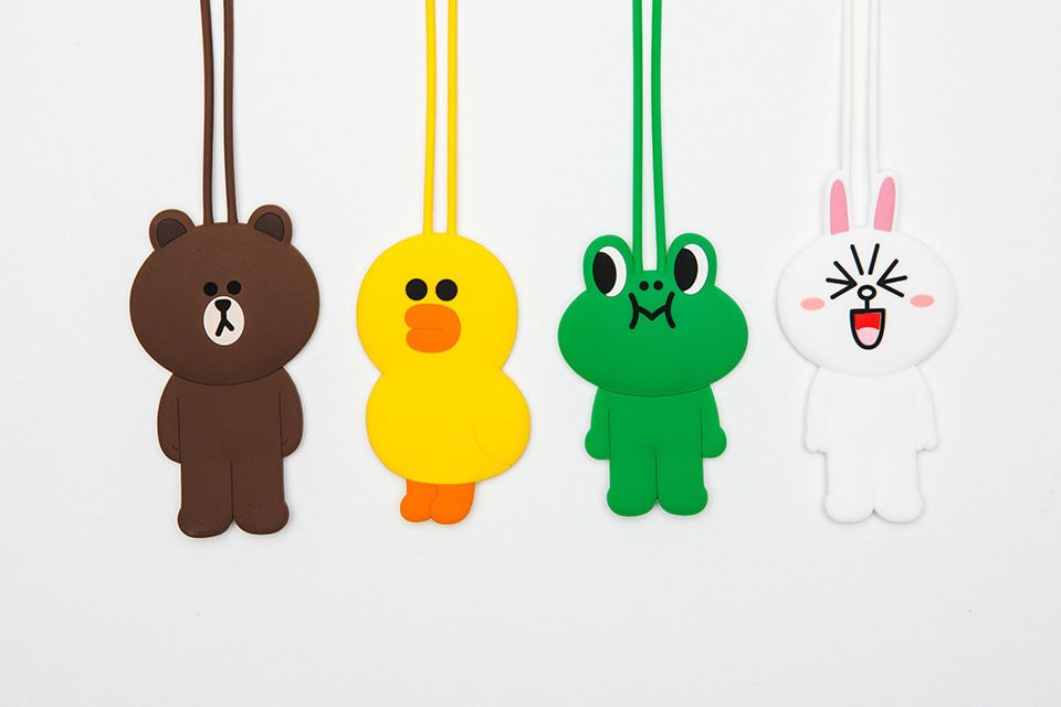 Line friends brown cony character silicone rubber luggage bag deco name tags