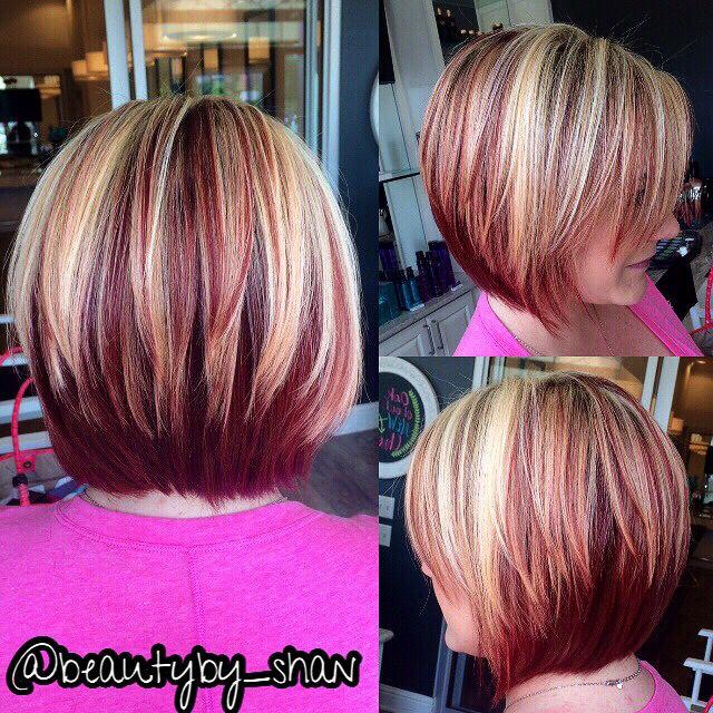 Red And Blonde Bob Www Airdrybar Com Https Www Facebook Com Shanainsworth Short Hair Highlights Red Hair With Blonde Highlights Short Hair Color