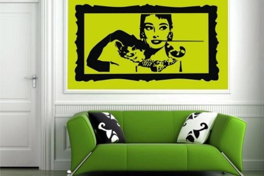Preciso vinilo decorativo de Audrey Hepburn enmarcado. Un original ...
