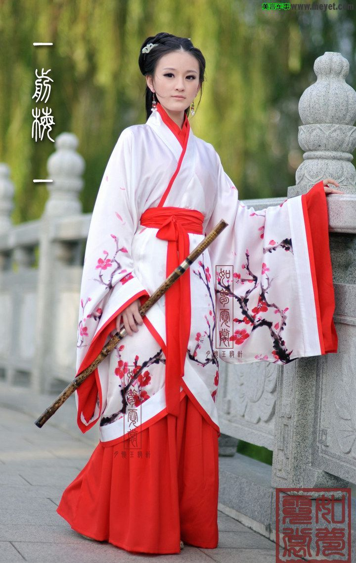 8c65a0872dad1 red and white hanfu | Red and White | Chinese kimono, Chinese ...