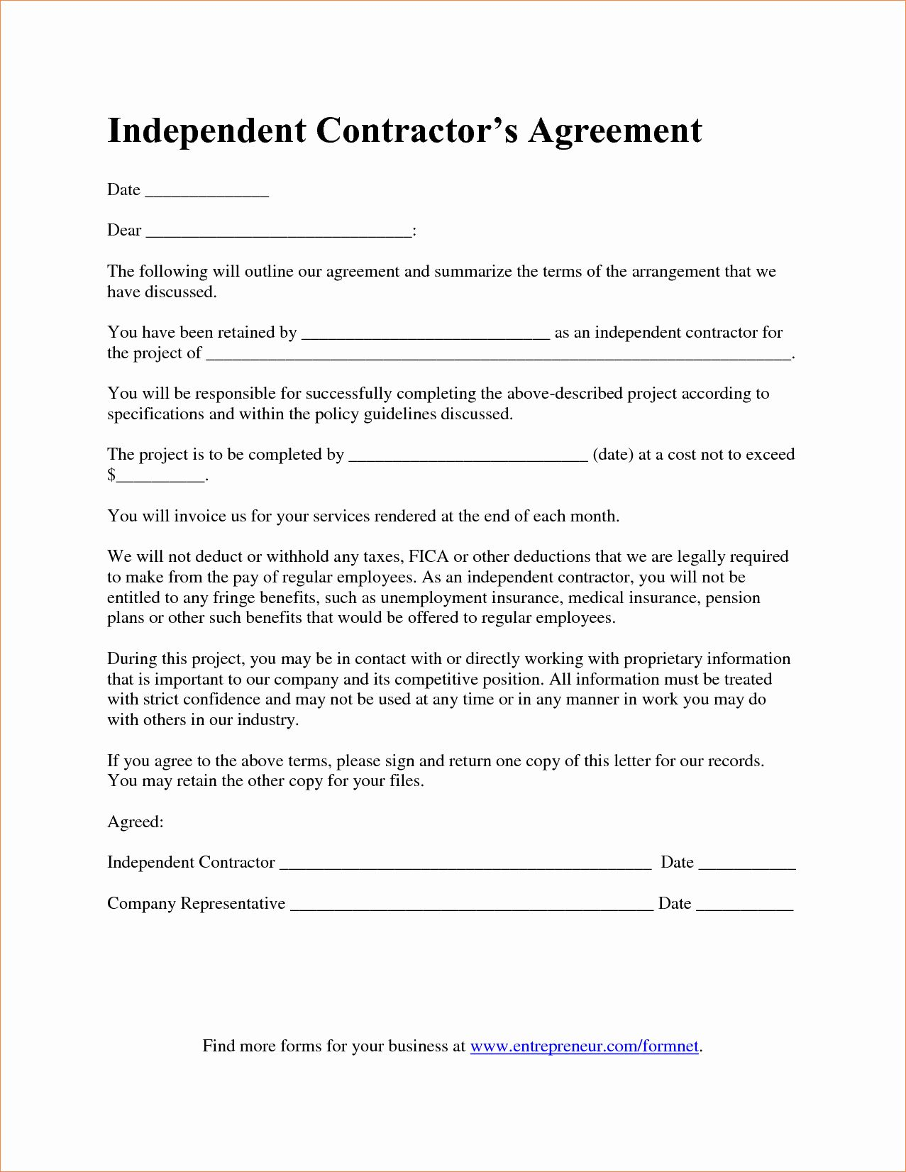 Contract For Construction Work Template Luxury 7 Contractor Agreement Templatereport Template Docum Contract Template Construction Contract Contractor Contract Independent contractor agreement template word