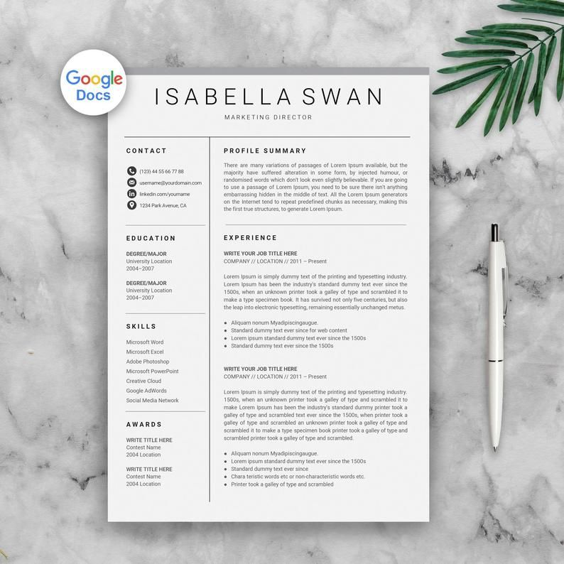 Google Docs Resume Template, Google Docs CV, Google CV