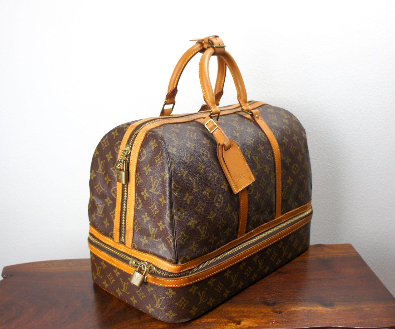 Vintage Louis Vuitton Monogram Sac Sport Travel Bag Large Duffle Weekender Bottom Compartment Top Handles Vintage Louis Vuitton Canvas Weekender Bag Duffle
