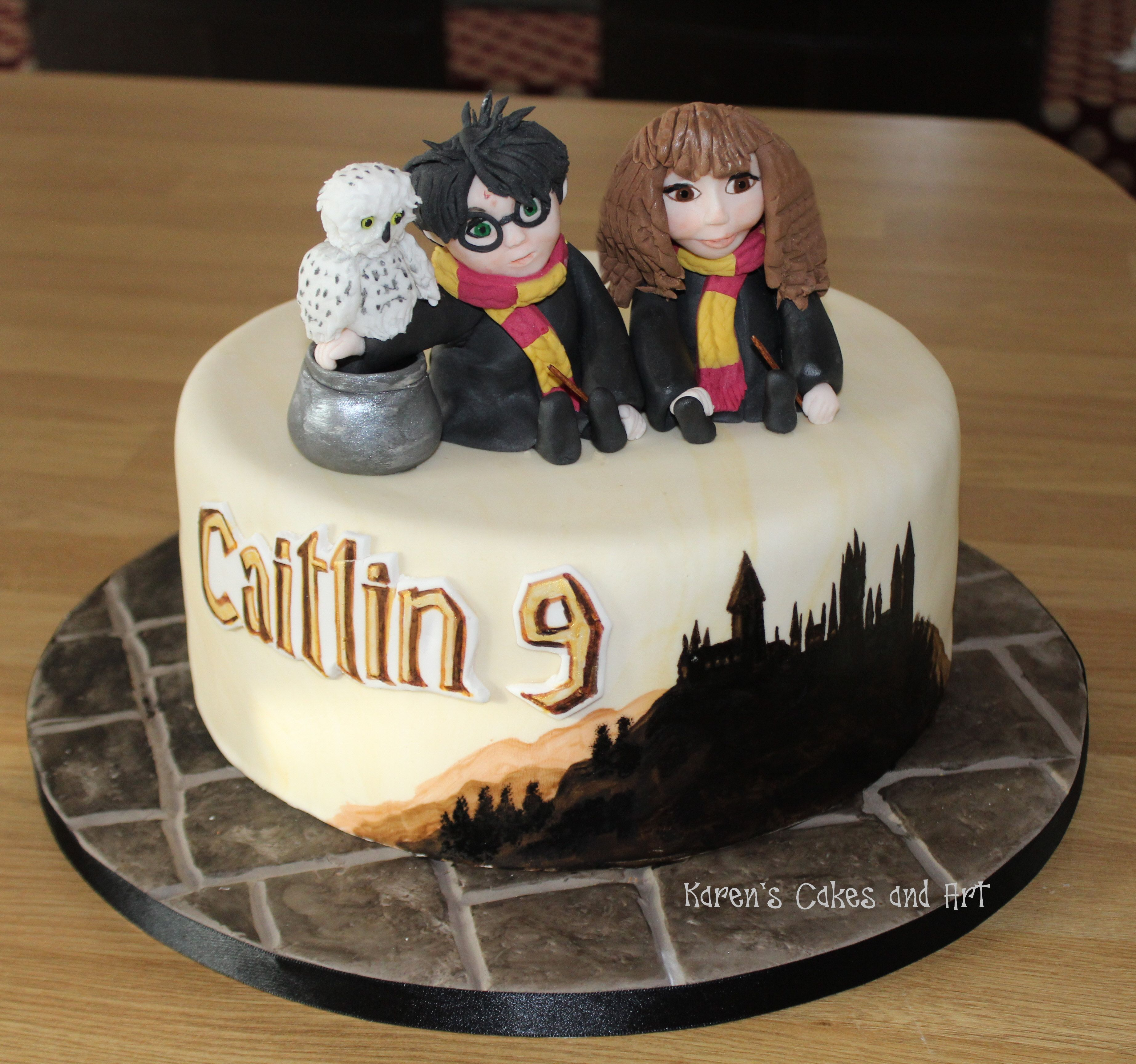Harry Potter Hermione and Hedwig cake flagstone board and a