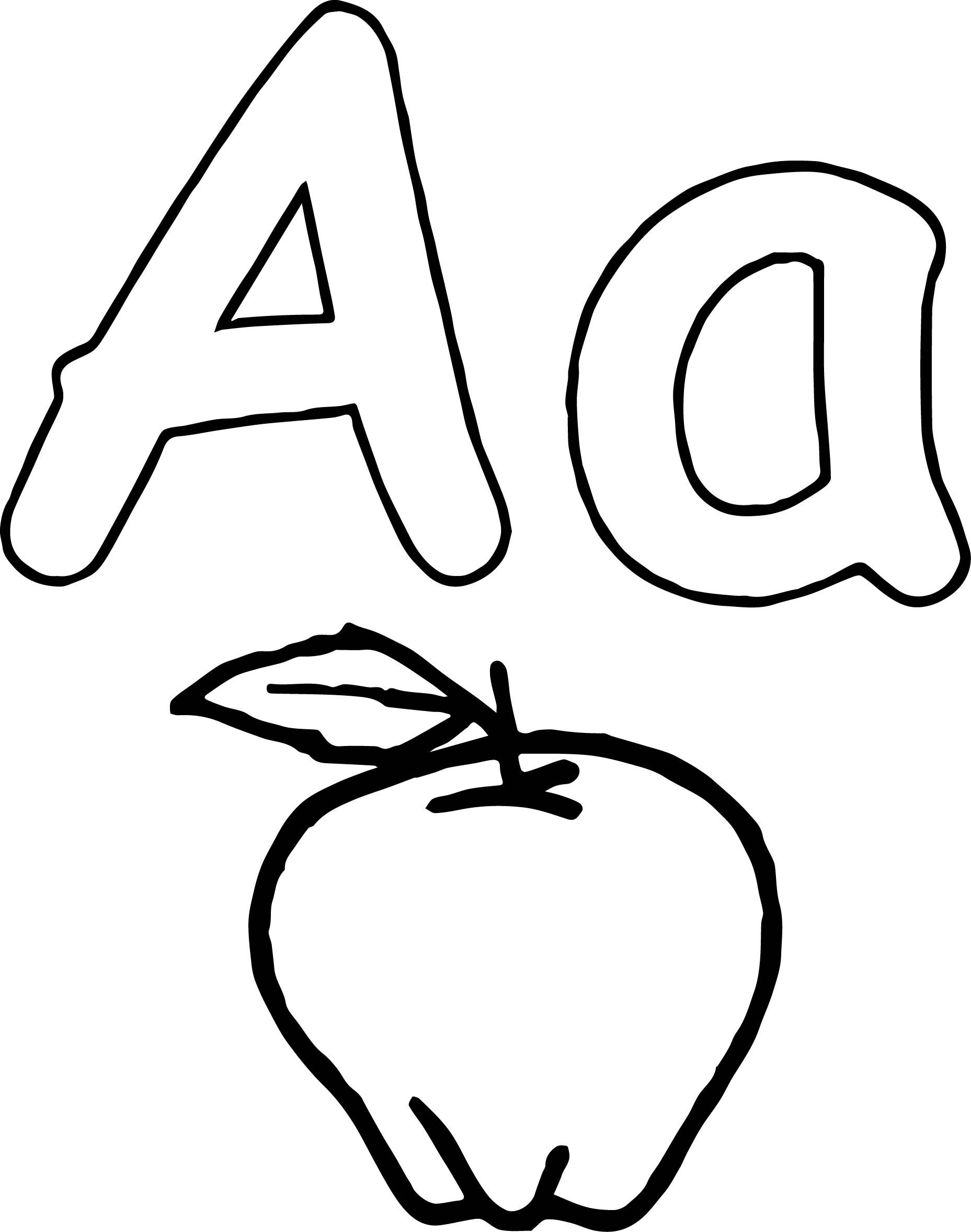 Nice Aa Apple Coloring Page