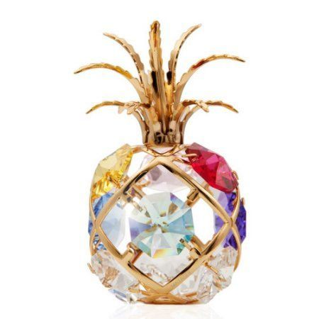 Matashi 24K Gold Plated Highly Polished Mini Pineapple Ornament with Genuine Crystals, Multicolor