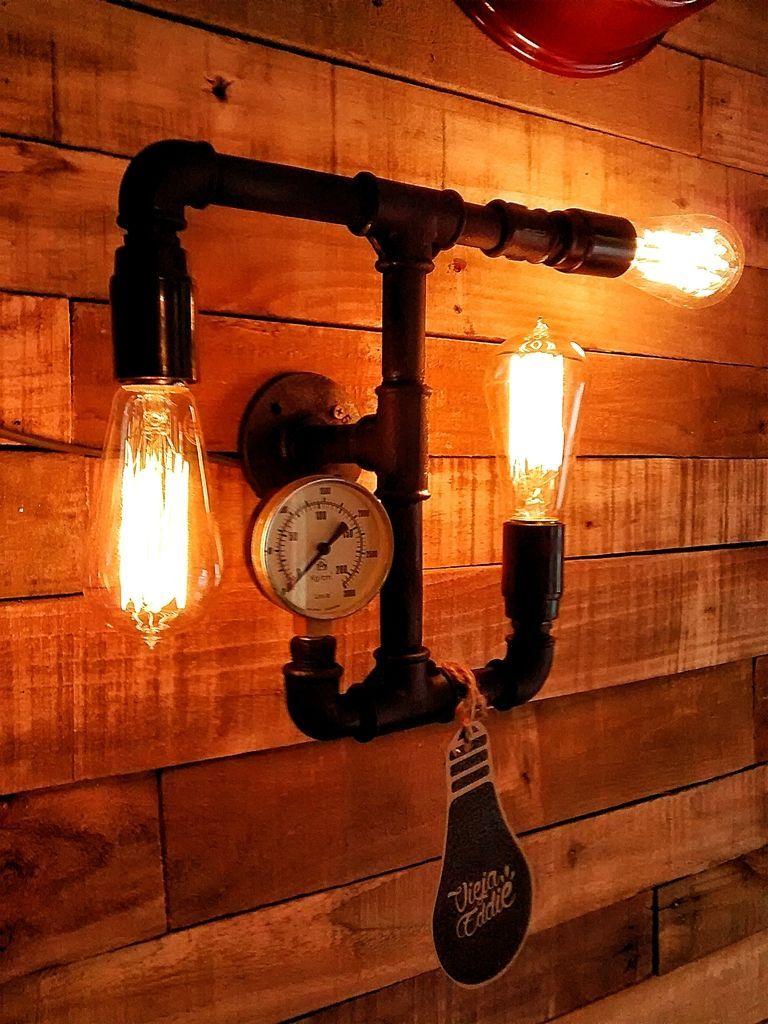 Aplique de pared industrial 3 luces vintage manometro - Iluminacion estilo industrial ...