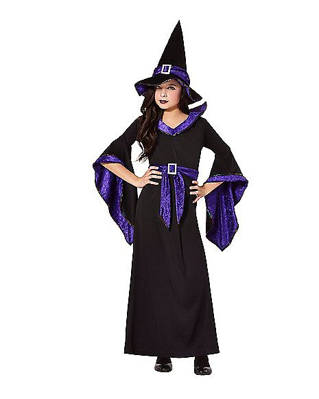 Black And Purple Hocus Pocus Witch Child Costume Spirithalloween Com Kids Witch Costume Halloween Costumes For Girls Beautiful Black Dresses
