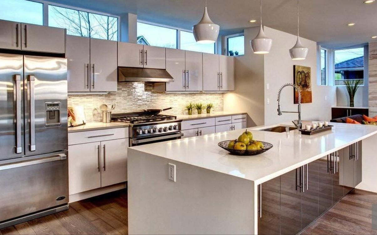 Kitchen Windows Above Cabinets Visual Contemporary Kitchen Island Contemporary Kitchen White Kitchen Rustic