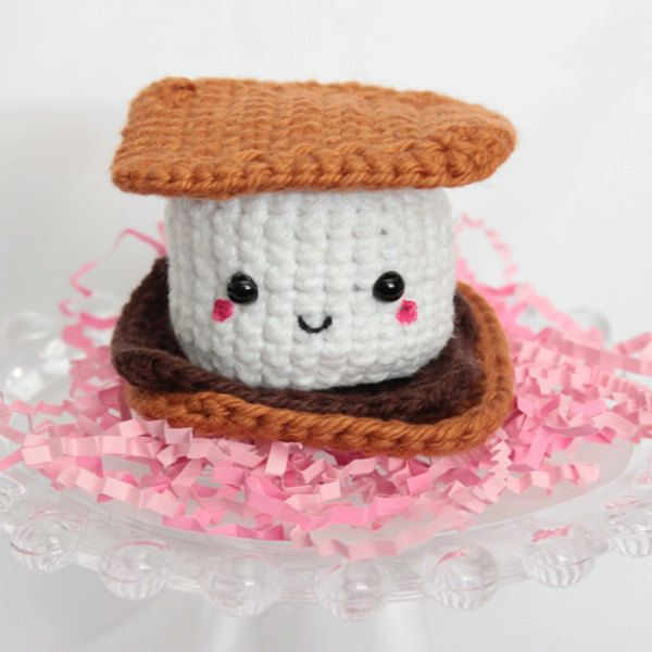 Smores Stuffed Animal, S Mores Galore Etsy Wednesday Amigurumi Style Stuffed Toys Handmade Plush Crochet Crafts Crochet