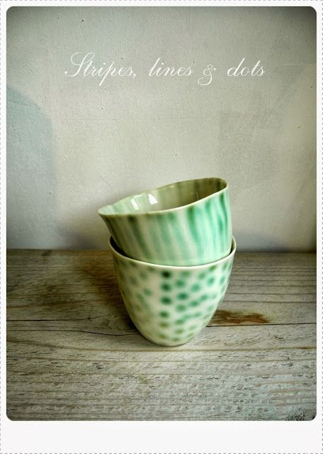 copper green espresso cups with dots and stripes