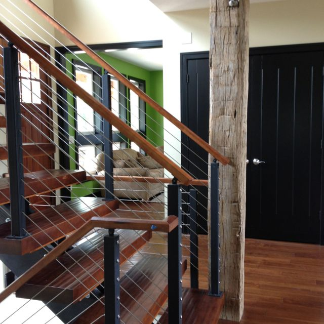 Beautiful Cable Rail Floating Stairs By Stair Supplies Goshen, IN