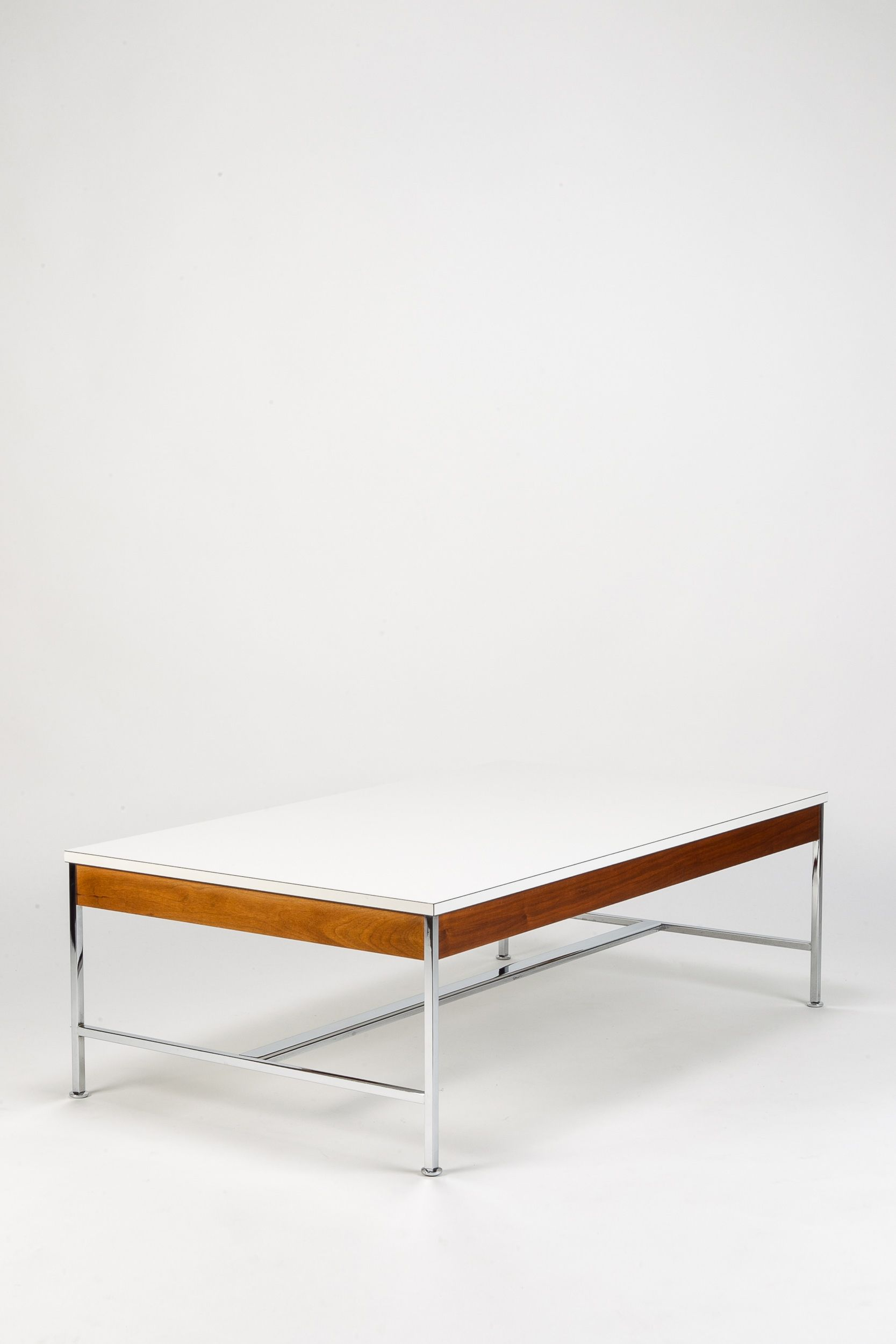 george nelson walnut formica and chromed metal coffee table for