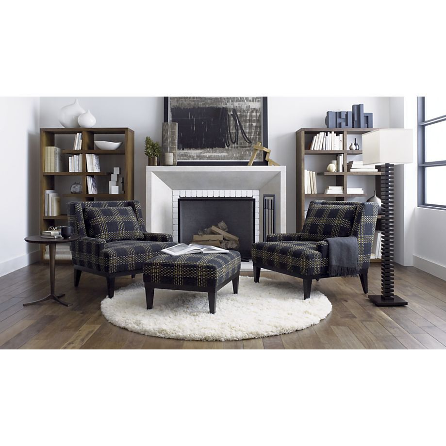 Love this room especially the plaid chairscrate and barrel