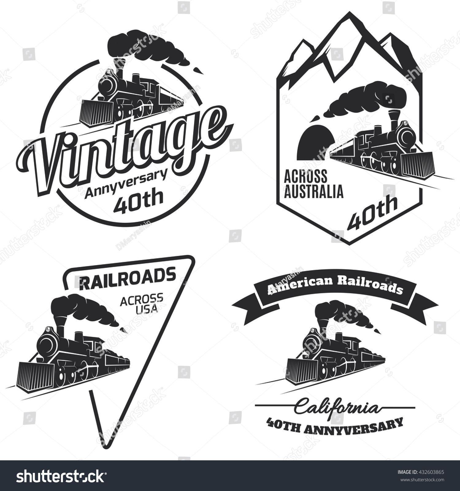 Stock Vector Set Of Retro Train Logo Emblems And Icons Isolated On White Background Vintage Locomotive Label 432603865 J Emblem Logo City Branding Vintage Logo