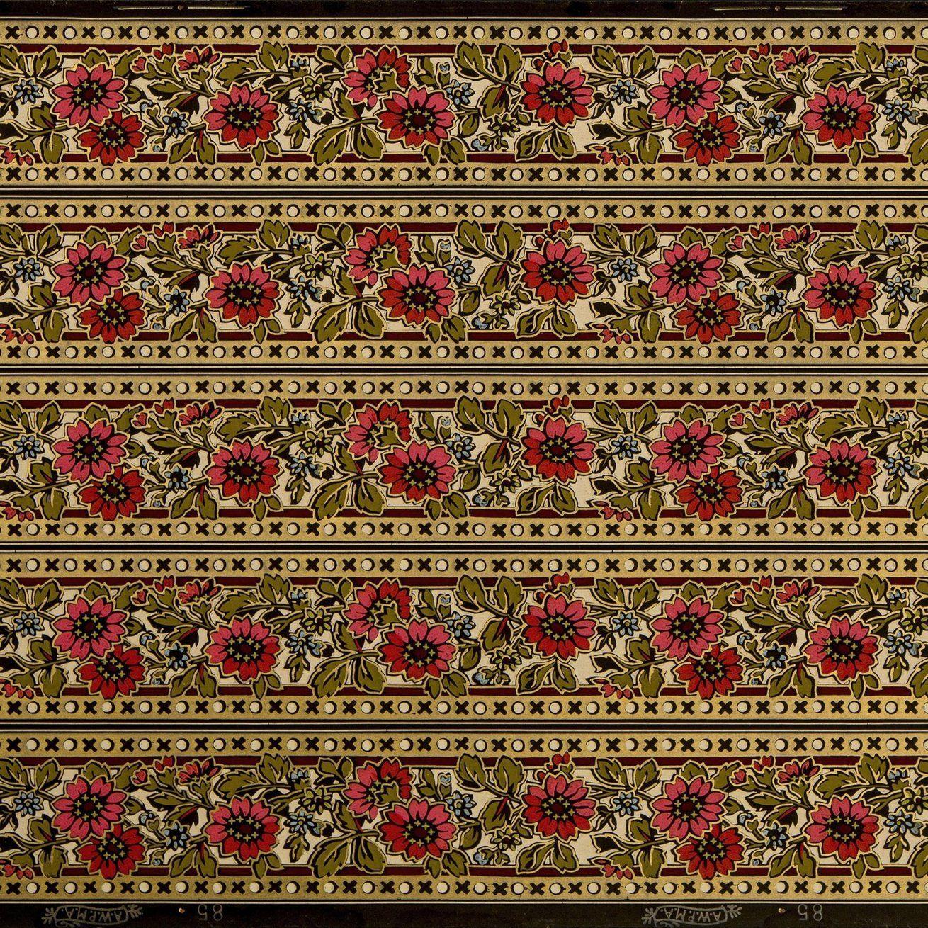 "5Band 33/4"" Stylized Gilt Floral Border Antique"