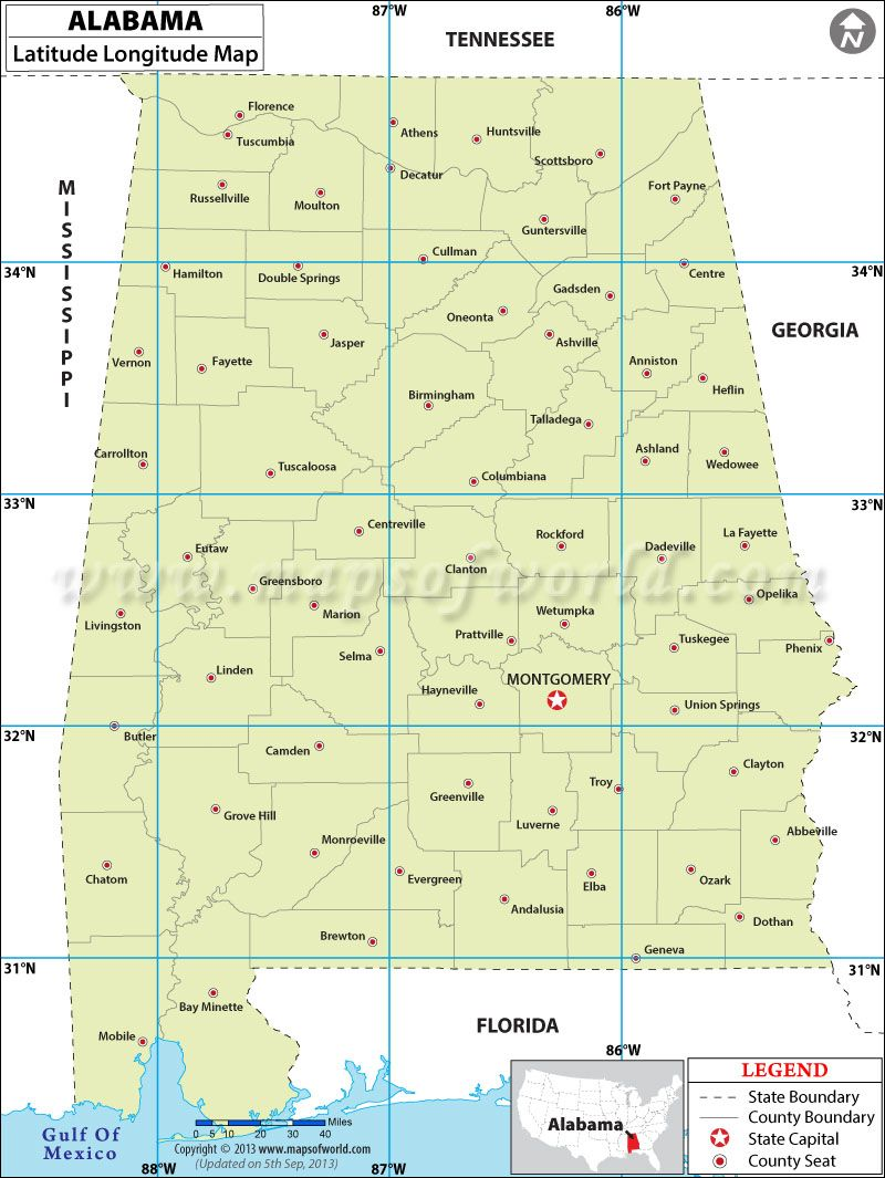 Alabama Latitude And Longitude Map And Other Maps For Alabama - Us longitude map