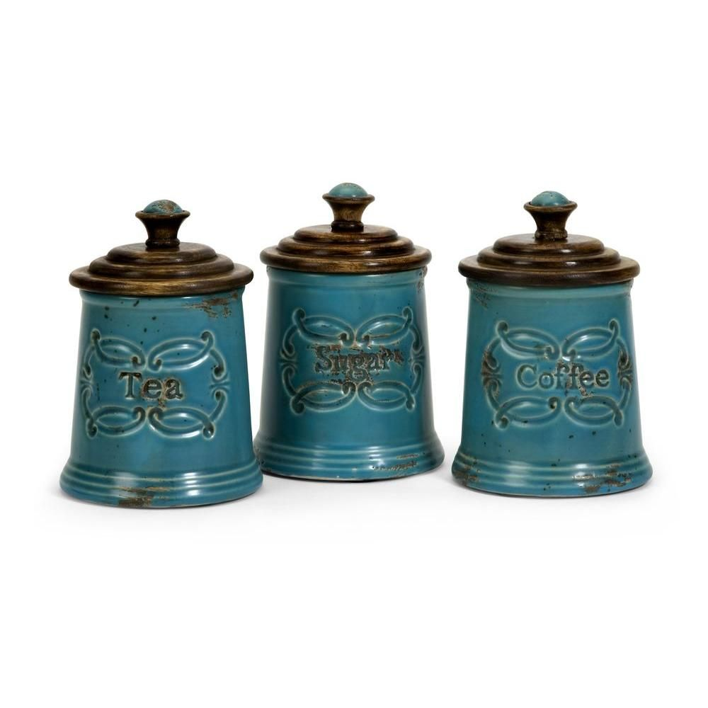Lenor 7.5 in. Blue Ceramic Canister (Set of 3) | Ceramic canister ...