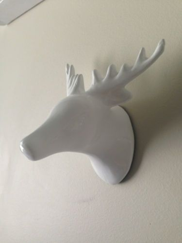 New White Ceramic Deer Head Wall Hook Stag Coat Ornament Decor Decoration Animal Ebay