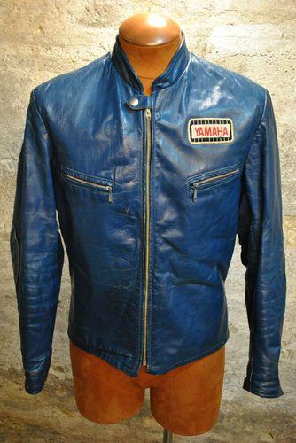 Vintage 70 S Electric Blue Leather Cafe Racer Motorcycle Jacket Sz 38 Yamaha